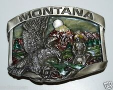 WOW Vintage 1984 MONTANA Color Inlaid Gold Miner Eagle Solid Belt Buckle Minty