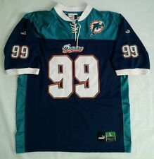 VINTAGE RARE PUMA MIAMI DOLPHINS #99 ALL SEWN LOGOS JERSEY IN SIZE L