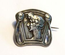 Small antique Art Nouveau sterling silver brooch w woman's profile, prob German