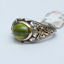 New Konstantino Two Tone 18K Gold Sterling Silver Peridot Ring Size 8 $1390