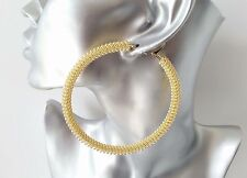 SEXY! BIG! 8cm gold tone chunky & oversized MESH patterned hoop earrings, NEW IN