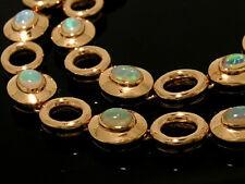 Genuine 9ct SOLID Rose Gold NATURAL Australian OPAL Line Bracelet