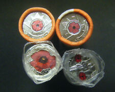 2004 2008 2010 2015 Canada Remembrance Day Red Poppy Quarter 25 cent coin Roll