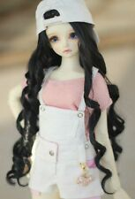 """BJD Doll Hair Wig 7-8""""1/4 SD DZ DOD LUTS Black Long Curly Parted in the middle"""