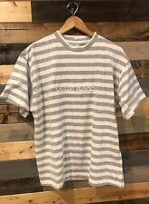 Men's VTG 90's Guess Jeans USA Gray White Striped T-Shirt ASAP Rocky sz Small