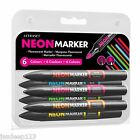 6 Letraset Promarkers Set Neon Markers Artist Pens Crafts Arts Fluorescent Brand