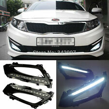 For 2011-13 Kia Optima K5 Glossy Black Bezel 12-LED Daytime Running Lights Lamps