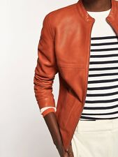 Massimo Dutti (Zara)Women 100% Leather Orange Nappa Jacket XS/36/8 £250 New Tag