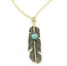 Beautiful Feather Turquoise Bead Retro Pendant Charm Chain Necklace Gift Present
