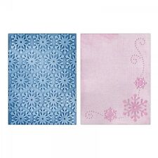 SIZZIX TEXTURED IMPRESSIONS Embossing Folders WINTER SNOWFLAKES SET 658628