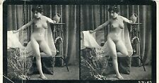 158 # Druck um 1915 Stereo-Bild Pin-up girl full nude Akt nudo busty nus erotic