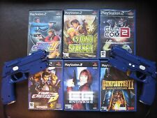 PS2 g-con 2 LIGHT GUNS X2 OFFICIAL NAMCO + 6 GUN GAMES inc TIME CRISIS 3 III