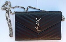 AUTHENTIC Yves Saint Laurent YSL BIG WALLET ON CHAIN GRAINED LEATHER CLUTCH NEW