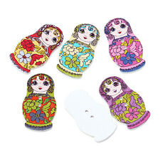 Pack of 10 Wood Buttons.Fancy Russian Doll Design 30 x 15mm Sewing Art  Crafts