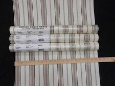 Stripe Wallpaper Green Gold Burgundy on Beige #HV6324 (Lot of 3 Double Rolls)