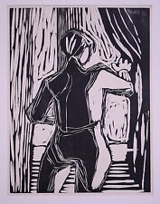 Fecondare esercito, Eduard (1901-1979) - legno taglio espressionismo uomo alla finestra 1935