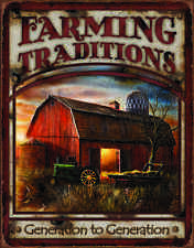"TIN SIGN- ""FARMING TRADITIONS"" Dairy Cows Barn Farm metal Sign"
