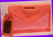 Victoria's Secret NEON ORANGE PINK Clear Clutch Bag Purse Tote Baggie Makeup Bag