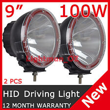 "PAIR 9"" 100W HID XENON DRIVING LIGHTS ALUMINUM HOUSING SPOTLIGHT OFFROAD 9 INCH"