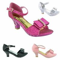 NEW GIRLS KIDS CHILDRENS LOW HEEL PARTY BRIDAL DIAMANTE STYLE SANDALS SHOES SIZE