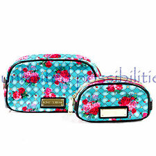 BETSY JOHNSON New Two Piece Dome Beauty Case Bag Loag Dome Roses with Tags