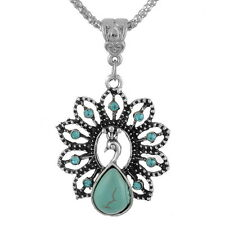 1PC Boho Turquoise Rhinestone Peacock Pendant Necklace For Women & Girls