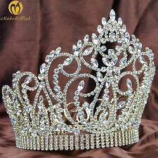 "Large 7"" Tiara Crown Gold Headpiece Clear Crystal Wedding Bridal Pageant Party"