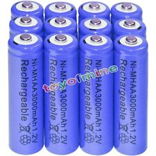 12x AA battery batteries Bulk Nickel Hydride Rechargeable NI-MH 3000mAh 1.2V Blu