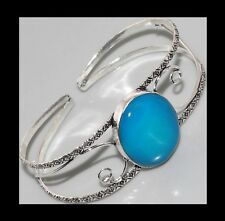 NEW - BLUE ONYX SILVER SCROLL ADJUSTABLE OPEN CUFF BANGLE BRACELET