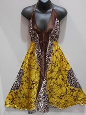 Scarf Dress Fits S M L XL Sexy Brown Gold Silky Halter Empire Backless NWT DC508