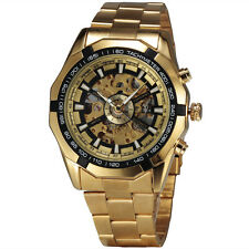 TOP Golden Skeleton Mechanical Watch Men Luxury Steel Band Relojes Hombre 2016