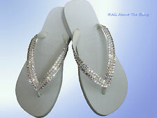 Havaianas flip flops or wedge with Opal Swarovski Crystals  Bride Wedding White