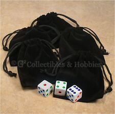 """NEW Set of 5 Small Black RPG Dice Bags 3"""" x 4"""" Velveteen Cloth Bag Counter Pouch"""