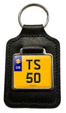 Suzuki TS 50 Cherished Number Plate Motorcycle Leather Keyring Gift