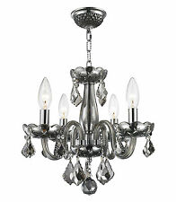 "4 Light Chrome Finish D 16"" H 12"" Clarion Smoke Crystal Candle Chandelier"