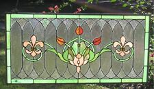 "Tiffany Style Stained Glass Window Panel ""Fleur De Lis"" 32"" x 16"" & Summer Card"