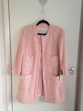 ZARA PINK BLAZER COAT JACQUARD BLOGGERS FANTASY JACKET SIZE LARGE L NEW