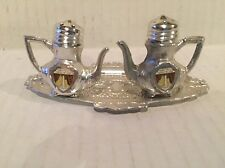 Vintage Silver Tone Tennessee Tea Pot Salt and Pepper Shakers On A Tray