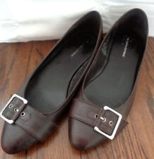 Banana Republic Dark Chocolate Brown Flats w/ Silver Buckle -- WMS Size 7