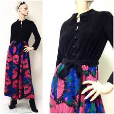 Vintage 60s Velour BRIGHT Floral Psychedelic Long Sleeve Belted Maxi Dress 12 L