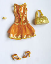 Tenue outfit fashion set ensemble brillant orange/or BARBIE Fashion personnalisé