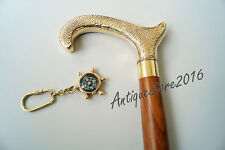 """Vintage Style Brass Wood Walking Cane 36"""" Vintage Victorian With Free Key Chain"""