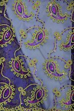 Sequins Paisley Coco Purple embroidery Sheer Polyester dress apparel fabric 54""