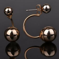 Gold Plated Two Side Double Ball Earrings Front Back Stud Piercing Plug