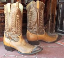 Tony Lama Classic Vintage Buttercup Brown lizard tip Cowboy Boots Men's 11