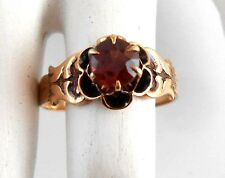 Antique VTG Real 10kt Solid Rose Gold Garnet Solitaire .85 carats 6.2mm Ring 9.5