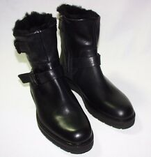 Vince Niles Shearling Lined Dual Buckle Zip Boot, Leather Upper, Black, 9 M, New