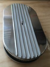"""15"""" x 2"""" half Finned Billet Polished Air Cleaner Retro Oval Hot Street Rod"""