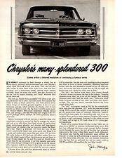 1966 CHRYSLER 300    440/365 HP ~ ORIGINAL 2-PAGE ROAD TEST / ARTICLE / AD