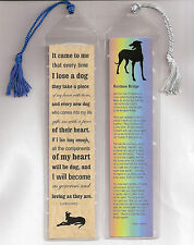 Set of 2 Bookmarks in Plastic Sleeves with Tassles Greyhound Dog Rainbow Bridge